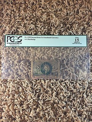 Fr. 1232 Second Issue 5¢ Fractional Currency w/o Surcharge Fine 15 PCGS