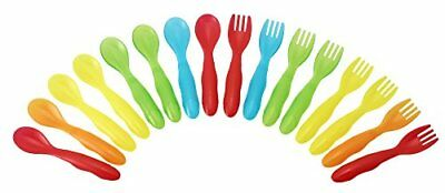 16 Pc Durable Plastic Toddler Fork Spoon Flatware Set Kit For Kids Multicolored