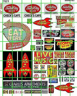 7021 Dave's Decals Club Atomic Check Cafe Building Sign Live Music Beer Eat Here