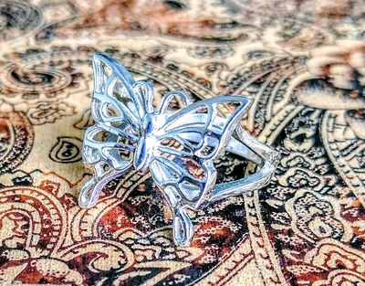 Butterfly Ring, Solid Sterling Silver, size 9 US, Transformation!