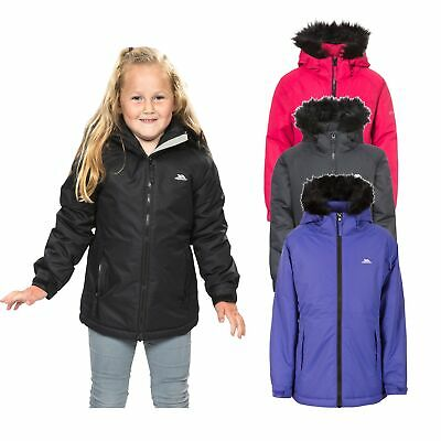 Trespass Staffie Girls Waterproof Windproof Jacket Warm Winter School Raincoat