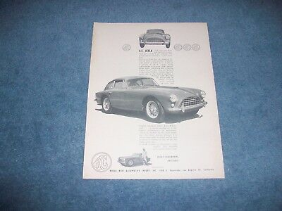 """1960 AC Aceca Coupe Vintage Ad """"128mph with Fantastic Acceleration..."""" A.C."""