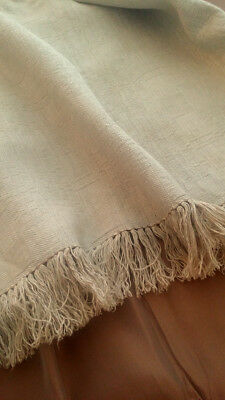 Pennsylvania GERMAN HOMESPUN Antique FLAX Linen FRINGED 2 HANDWOVEN Joined Panel
