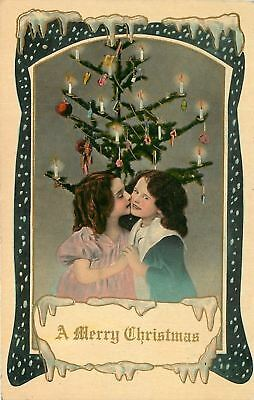 Christmas~Victorian Little Girls Under Candle Lit Decorated Tree~Gold Leaf~GEL