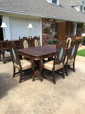 antique dining room set baroque hand carved walnut ~100 years old