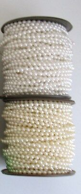 5metre STRING of 3mm FAUX PEARL ACRYLIC BEADS.