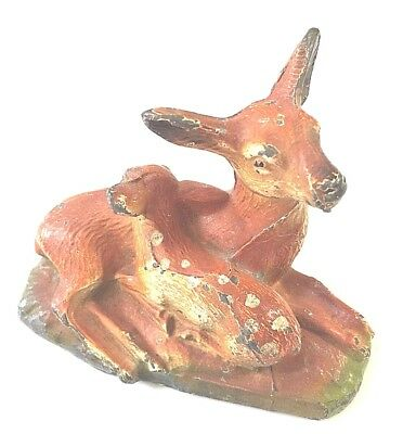Vintage Metal Doe and Fawn Figurine