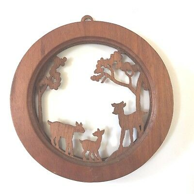 Vintage Wood Small  Deer Family Scene Cut-Out Wall Hanging