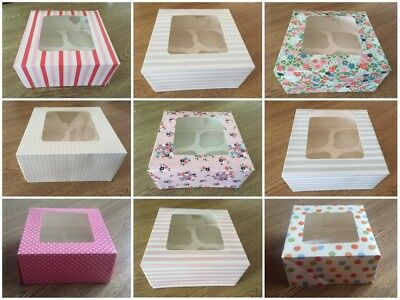 Cake/Cupcake Box/Boxes/Packaging Holds 4 Pink Funky Blue Yellow Red Vintage