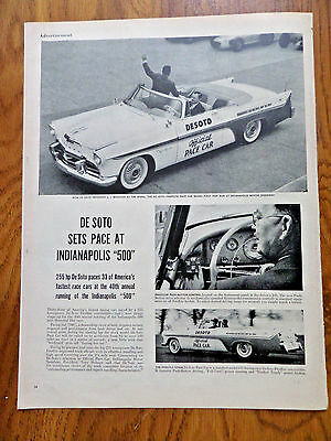 1956 DeSoto Ad Fireflite Pace Car Indianapolis Speedway