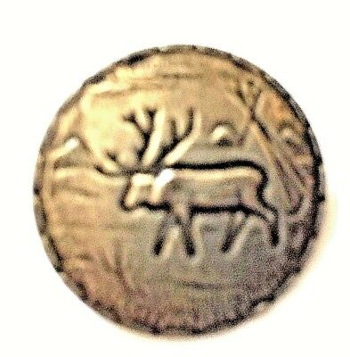Vintage Small Silver Toned Metal Stag Button With Tee Pee