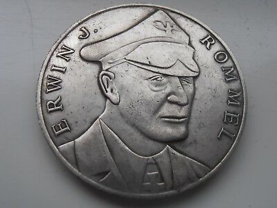 Erwin Rommel Silver Plated AFRIKAKORPS Nazi Coin Collectable Restrike