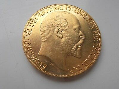 1902 Edward V11 Gold Plated 2 Pound Coin Restrike Collectable
