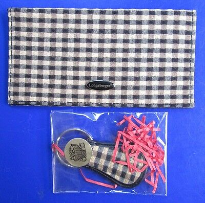 NEW UNUSED Longaberger Plaid Business Card/Checkbook Holder & Matching Key Ring