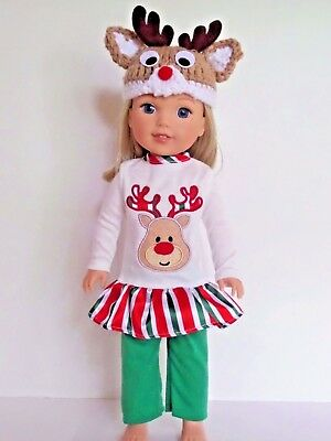 """Reindeer Outfit Pant Set Hat Fits Wellie Wishers 14.5"""" American Girl Clothes"""