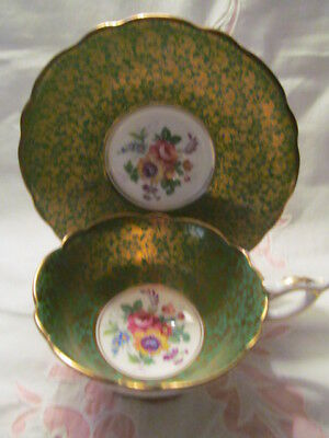 Royal Stafford, England, Green/gold Footed Cup & Saucer - Vgc