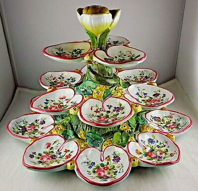 Majorelle Daum French Art Pottery 3-Tiered Egg Server Hand Painted Floral Rare
