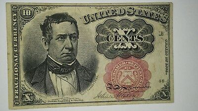 10 Cent Fractional Currency William Meredith Au No Holes Or Creases Looks New