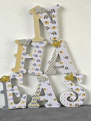 Wooden Letters~elephant Design~nursery Room~baby Shower~yellow Grey Letters~