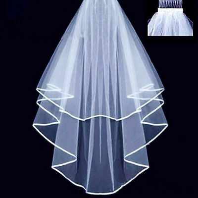 NEW 2-Tiered White Bridal Elbow Length Wedding Veil With Comb and Satin Edges