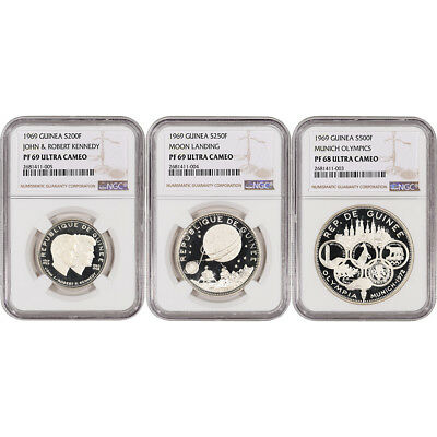 3-pc. 1969 Guinea Silver Proof Coin Set - NGC Certified