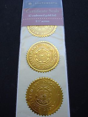 "Southworth Certificate Seals, ""Achievement"", 1 3/4"" dia., Gold, - SOU99294"