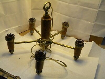 Solid Brass Chandelier 6 Light  Vintage Sockets
