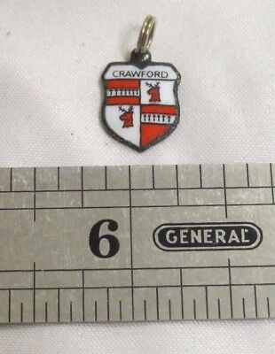 Crawford Family Name Charm Coat Of Arms Silver Plated Pennant