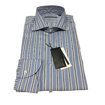 XACUS men's shirts striped baby blue 100% cotton