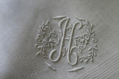 Vtg Antique Hand Embroidered Monogram H White French Handkerchief NWT Old Stock
