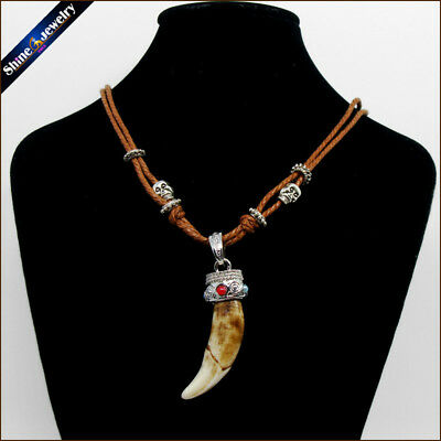 Real Brown Wolf Teeth Fangs Canine Pendant Surfer Rope Chain Necklace Adjustable