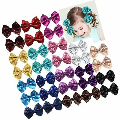"""Party Festival Baby Girls Sparkling Bows Clips-30 Piece Glitter Sequins 4"""" Ha..."""