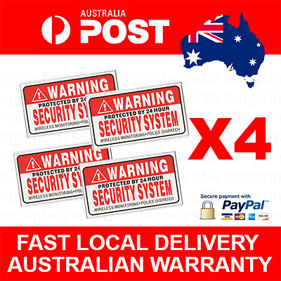 4pcs Security System Warning CCTV Stickers House Car Police Alarm Car Home Work