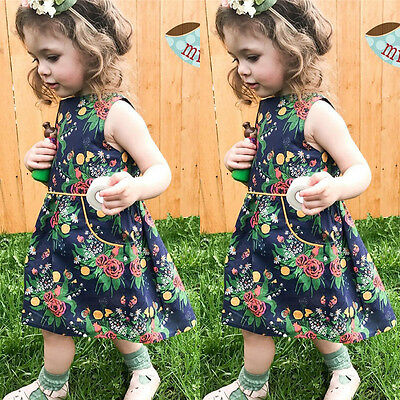AU Stock Toddler Kid Baby Girl Summer Floral Dress Princess Party Casual Dresses