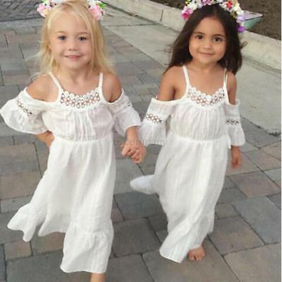 Toddler Kids Child Girls Lace Off-shoulder Dress Party Gown Maxi Dresses Clothes