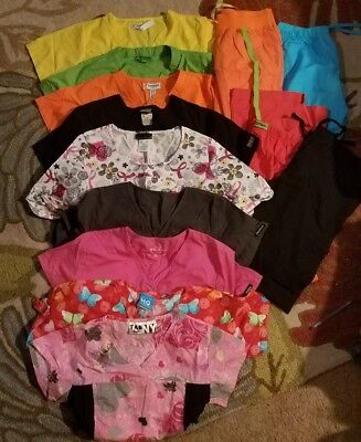 lot of 9 tops and 4 bottoms size (s) scrubs good brands