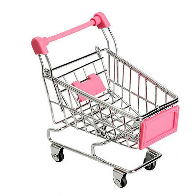 Dollhouse Miniature Stainless Steel Supermarket Shopping Cart Scale Model PINK