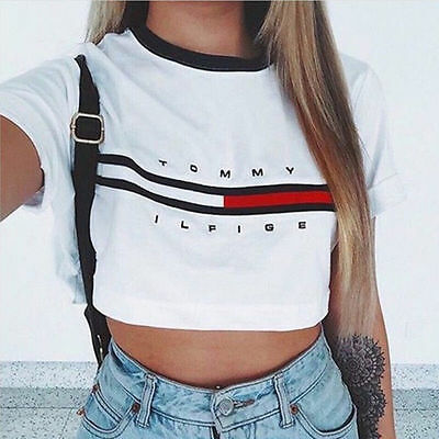 Sexy Women Summer Short Sleeve Tee Blouse Casual Crop Tops Letter Print T-Shirt