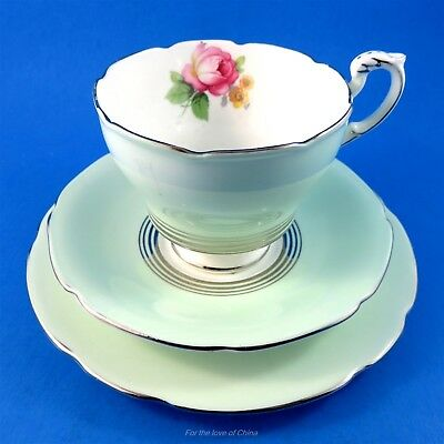 Pretty Mint Green Exterior with Rose Paragon Tea Cup, Saucer & Plate Trio Set