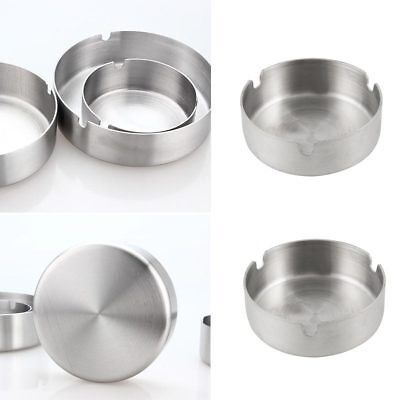 1Pcs Stainless Steel Round Cigarette Ashtray 8cm/10cm/12cm Silver Tone New Hot