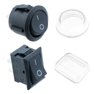 12V Rocker Switches – On/Off Round Rectangle 12 Volt Switch Waterproof Cover Car