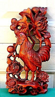 ANTIQUE 19c CHINESE ROSEWOOD CARVED A ROOSTER W/GLASS EYES AND CHRISANTHEMUMS