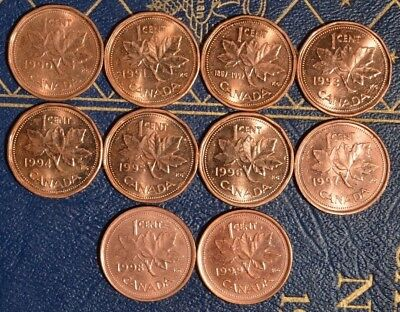 1990-1999 Penny Set - ^^RED^^ A/U to UNC ~~10 coins~~  Excellent starter set
