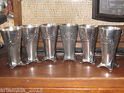 VERY RARE ANTIQUE WMF Silver Plated Art Deko 6 pieces Cups-Germany 19th Century
