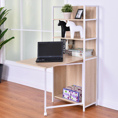2-in-1 Folding Desk Cabinet Fold Out Convertible Study Workstation W/Bookshelf