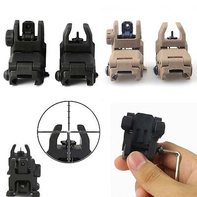 Hunting Front And Rear Backup Tactical Foldable Flip Up Transition Iron Sights