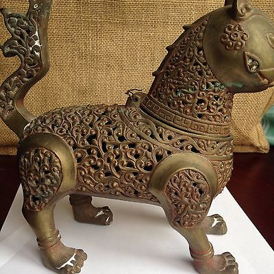 Islamic Bronze Incense Burner Formed As Feline