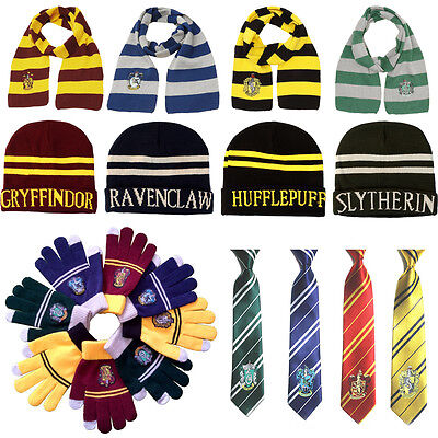 Harry Potter Cosplay Scarf Hat Tie Gryffindor Slytherin Hufflepuff Ravenclaw UK