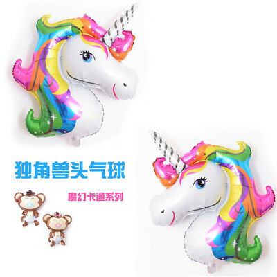 2PCS Unicorn Regenbogen Folie Helium Ballon Kinder Geburtstag Party Dekor
