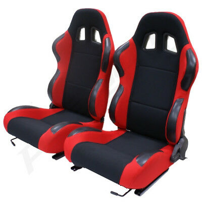 Pair of 2 Black/Red Reclining Seats Adjustable Recliners Seat Car/Buggy/ATV/4x4